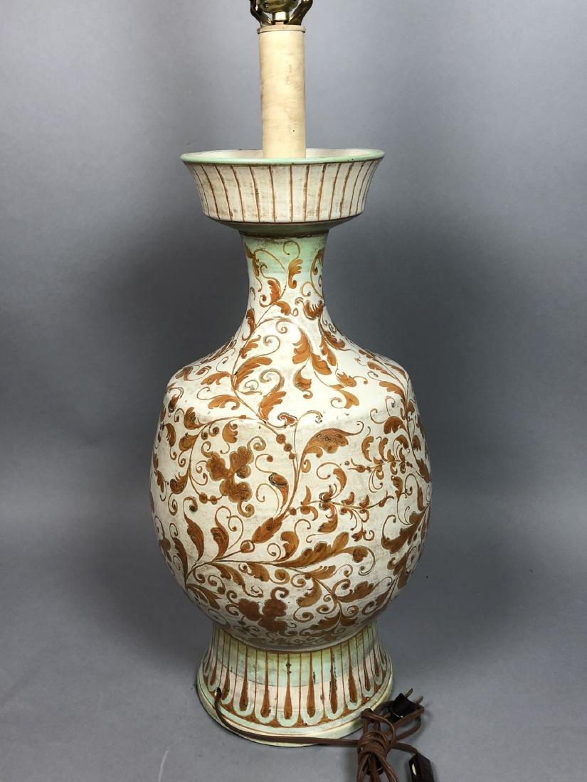 Large Italian Glazed Pottery Table Lamp. Footed u - 7