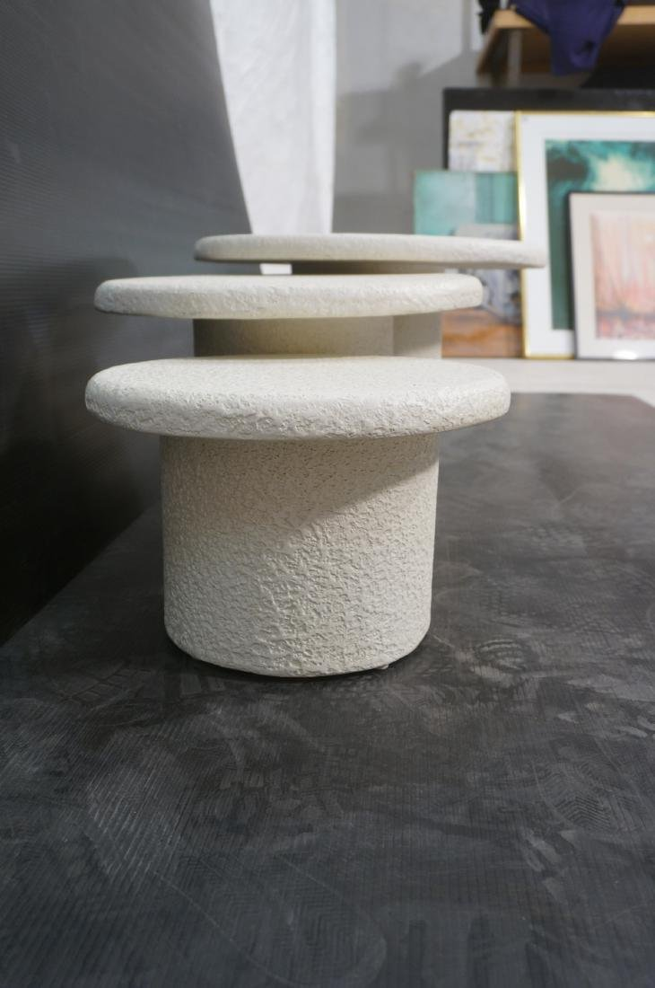 Set 3 Graduated Size Composite Mushroom Tables. M - 10