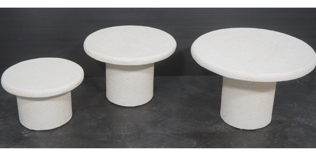 Set 3 Graduated Size Composite Mushroom Tables. M