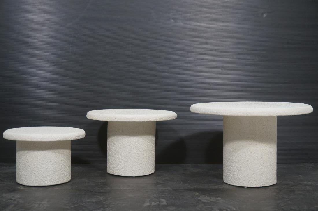Set 3 Graduated Size Composite Mushroom Tables. M - 2
