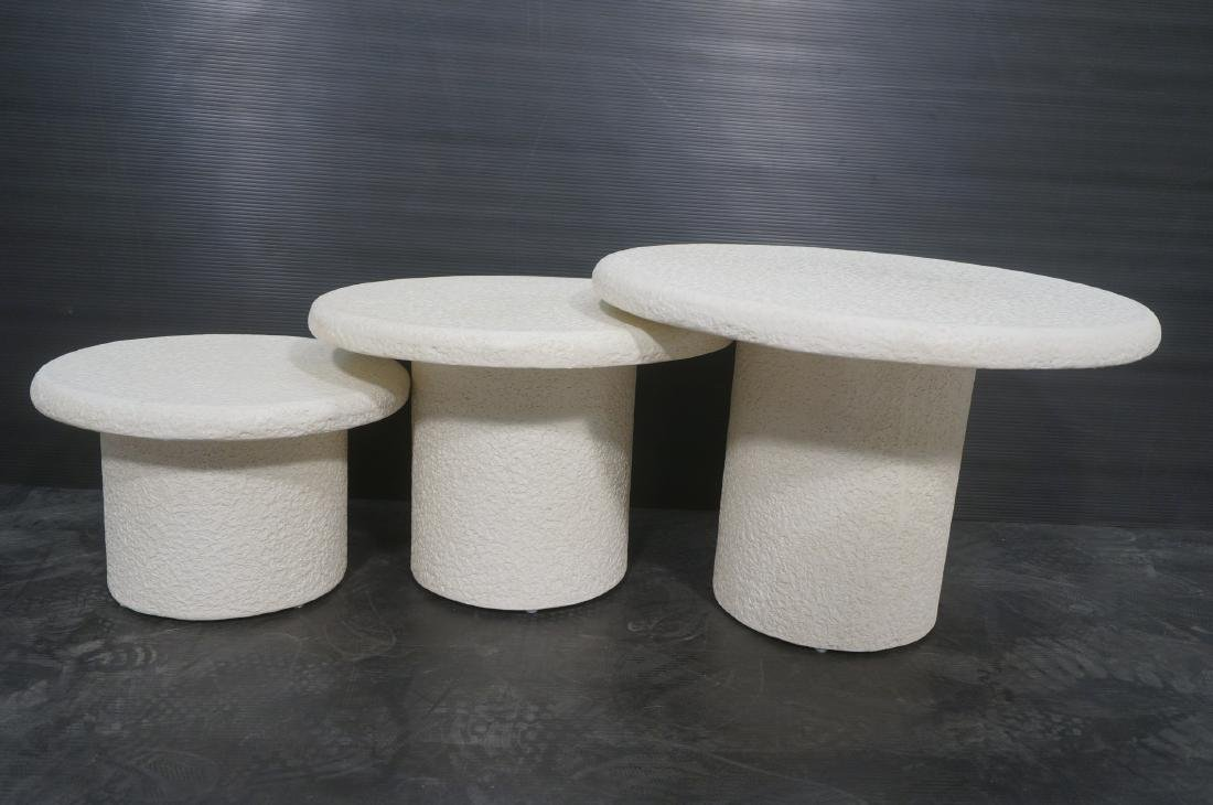 Set 3 Graduated Size Composite Mushroom Tables. M - 9