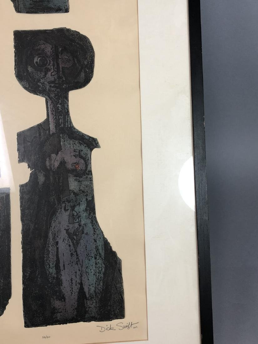 "DICK SWIFT Lithograph Figural Modernist Print. ""P - 5"