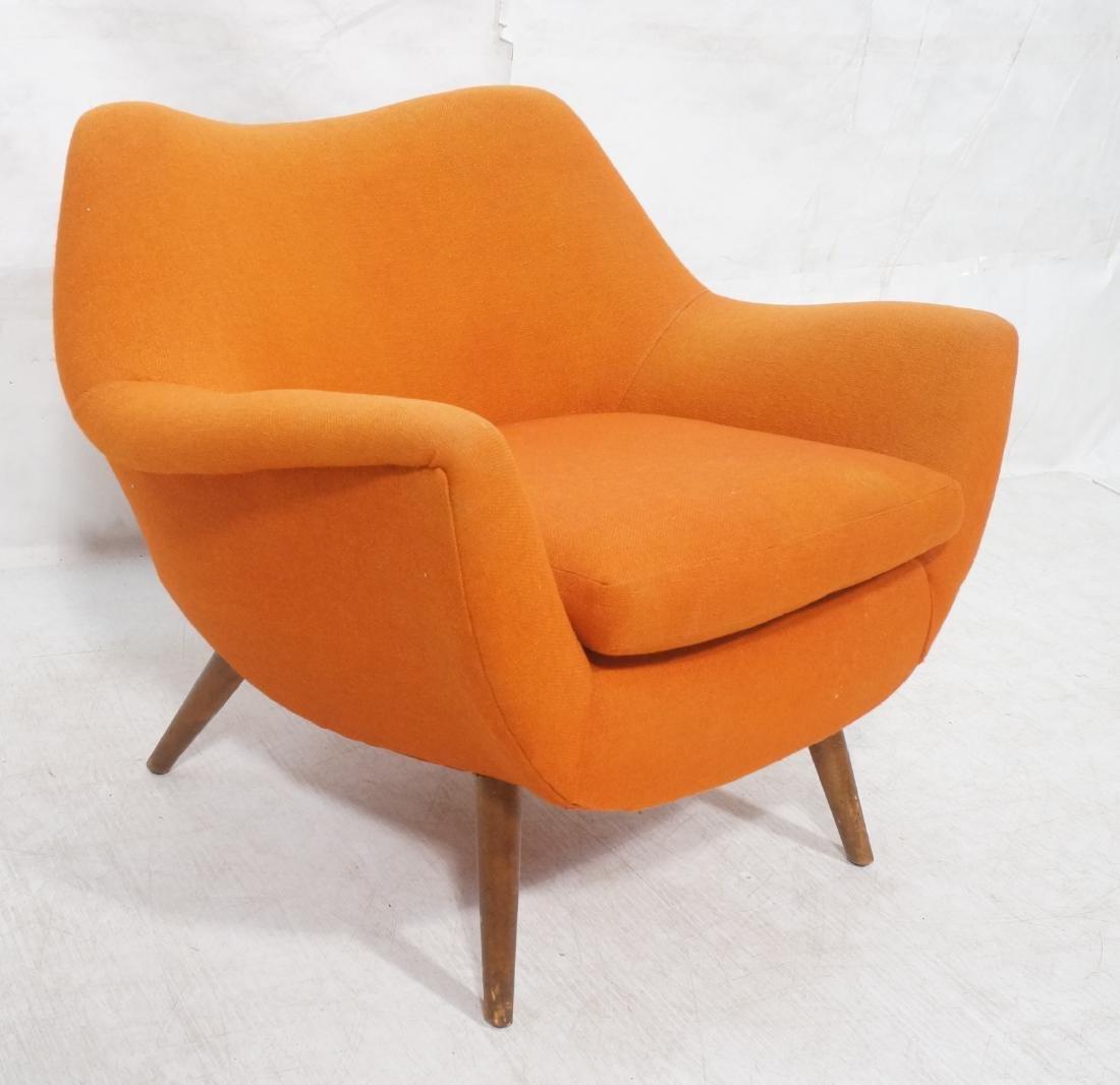Modernist Lawrence Peabody Orange Fabric Lounge C
