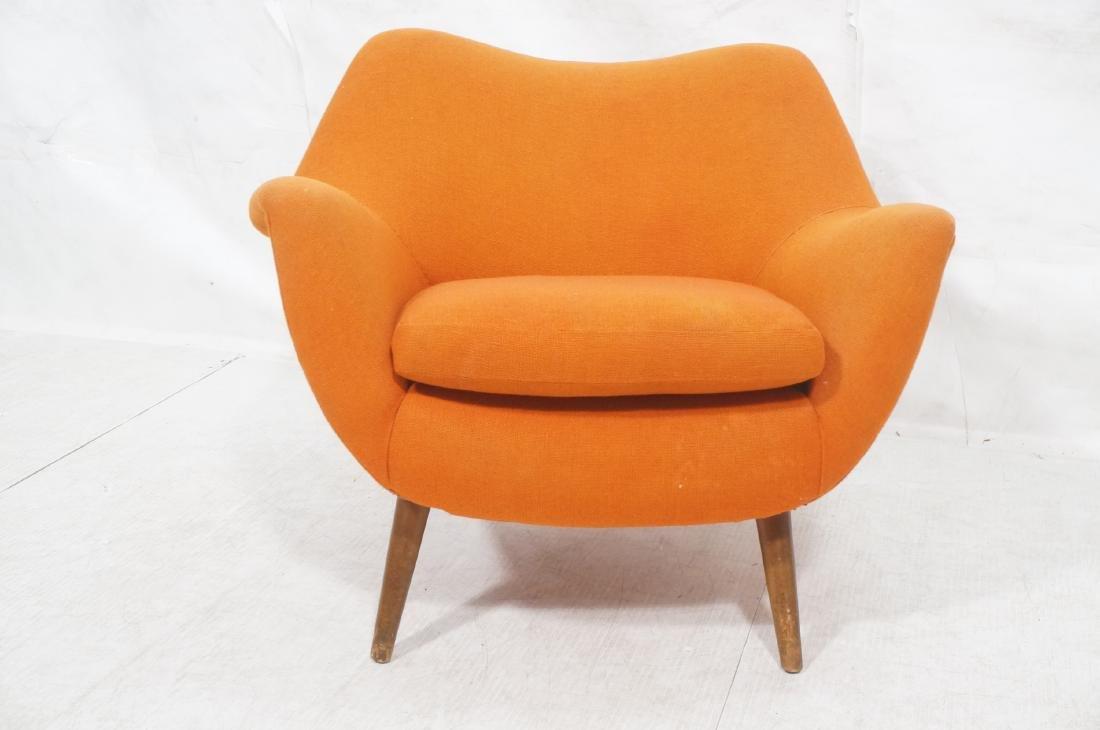 Modernist Lawrence Peabody Orange Fabric Lounge C - 2