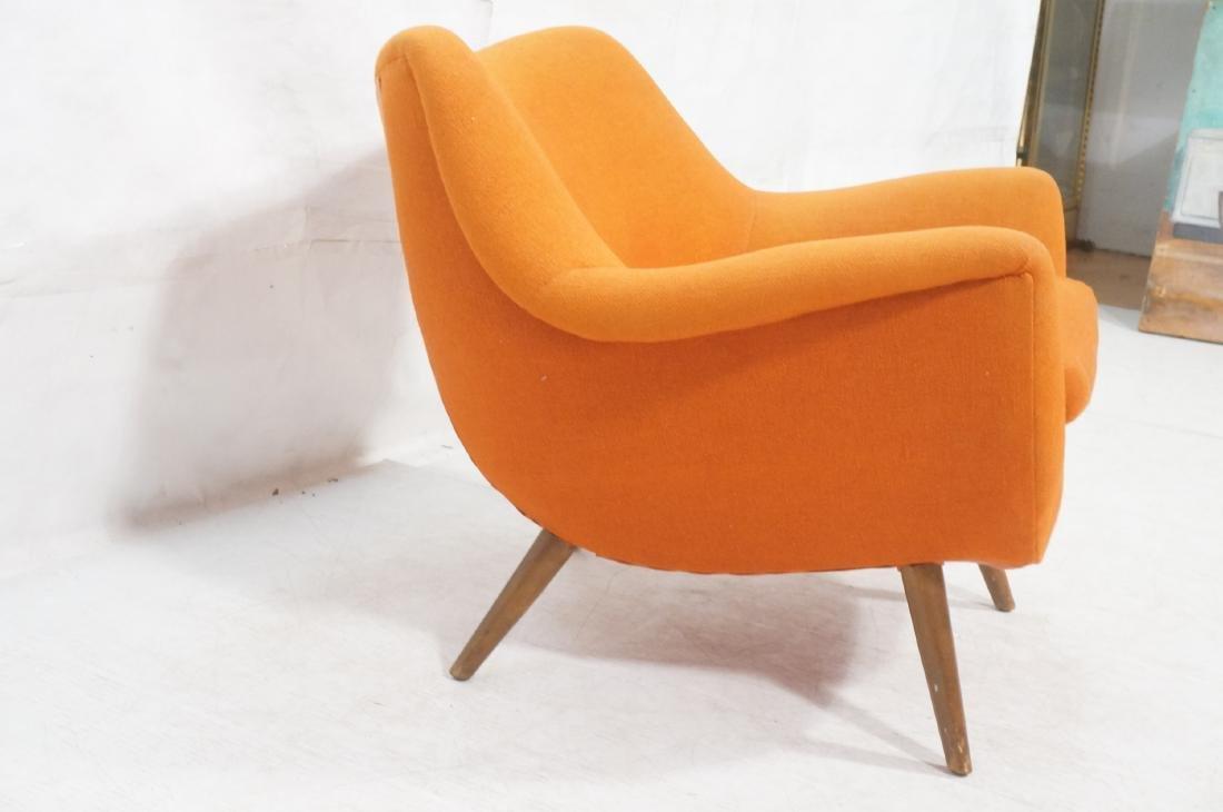 Modernist Lawrence Peabody Orange Fabric Lounge C - 3