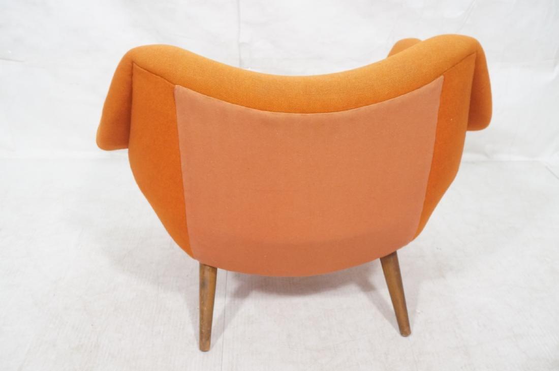 Modernist Lawrence Peabody Orange Fabric Lounge C - 4