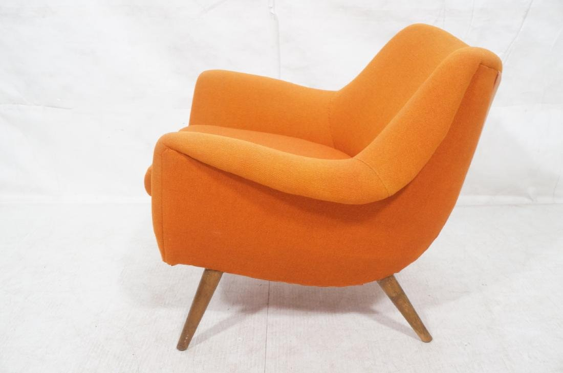 Modernist Lawrence Peabody Orange Fabric Lounge C - 5