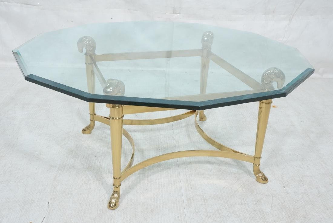 Signed Brass Regency Style Glass Top Cocktail Tab