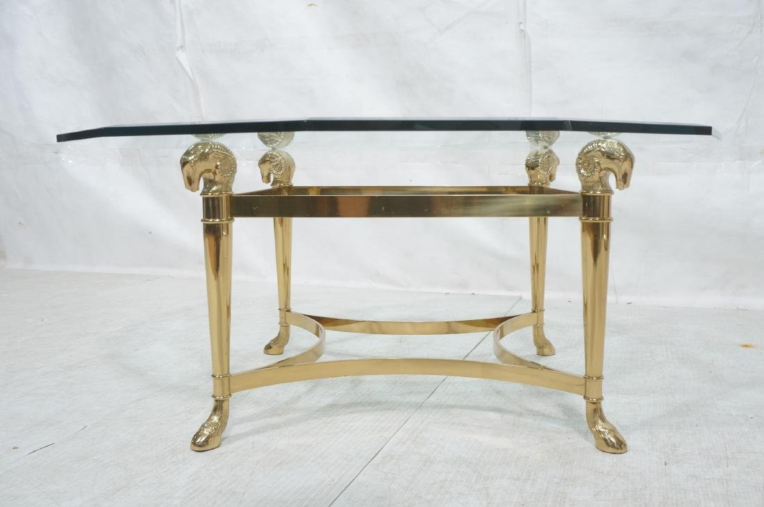 Signed Brass Regency Style Glass Top Cocktail Tab - 2