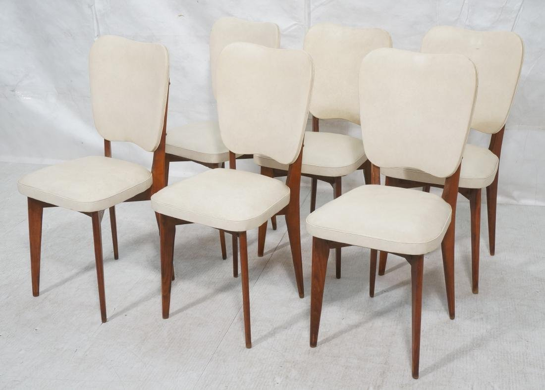 Set 6 Modern Dining Chairs. Cream vinyl seat and