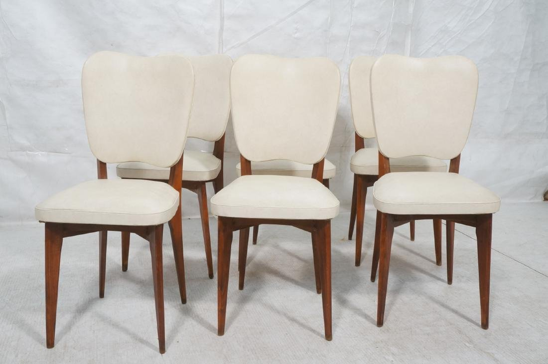 Set 6 Modern Dining Chairs. Cream vinyl seat and - 2