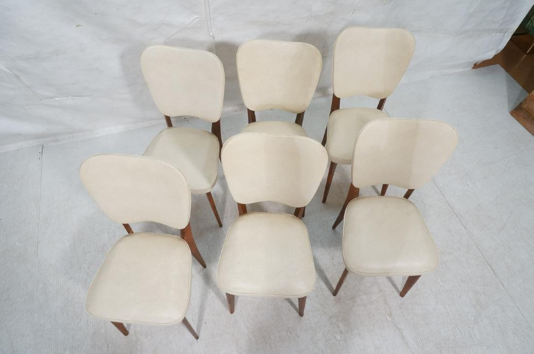 Set 6 Modern Dining Chairs. Cream vinyl seat and - 3