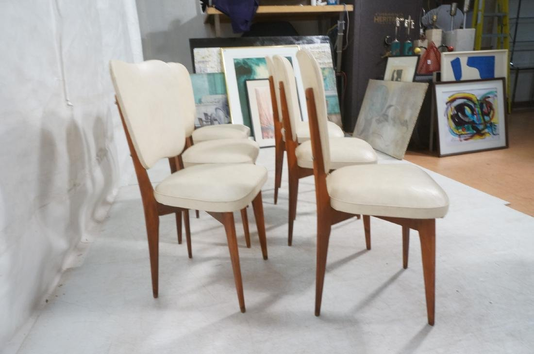 Set 6 Modern Dining Chairs. Cream vinyl seat and - 4