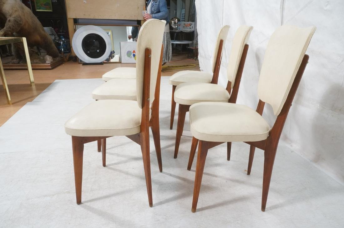 Set 6 Modern Dining Chairs. Cream vinyl seat and - 6