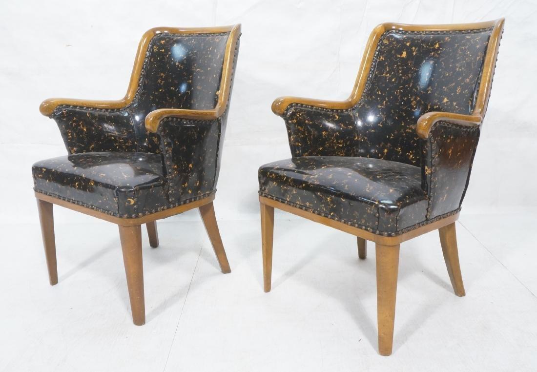 Pr Modernist Tortoise Vinyl Arm Chairs. Metal tac