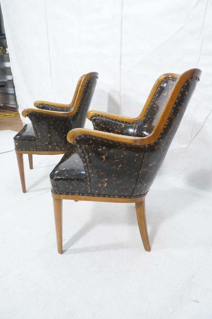 Pr Modernist Tortoise Vinyl Arm Chairs. Metal tac - 3