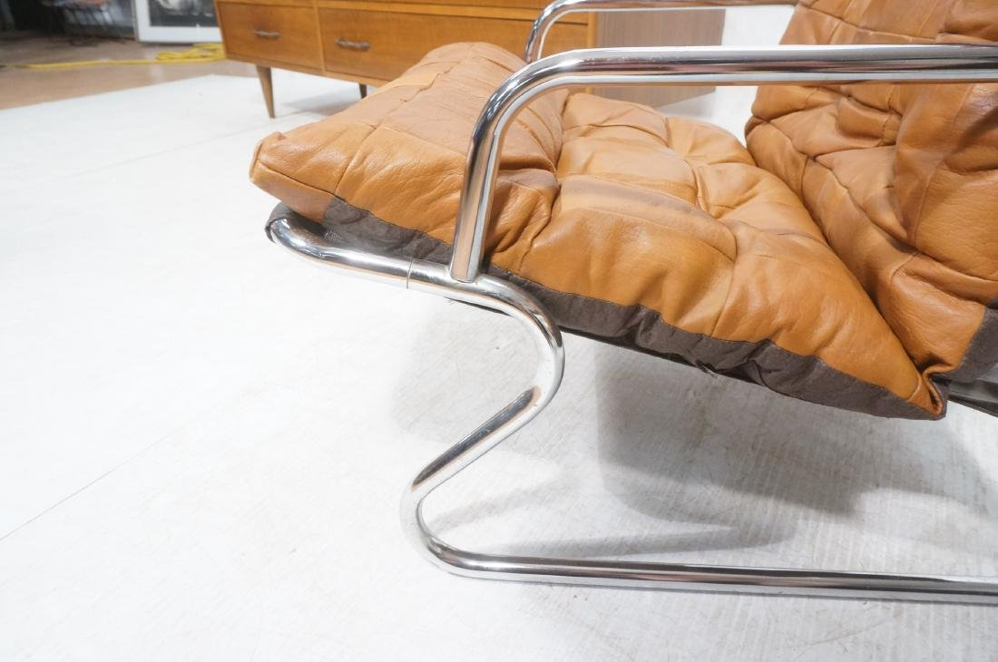 Pr Modernist Chrome Tube Lounge Chairs. Patchwork - 10