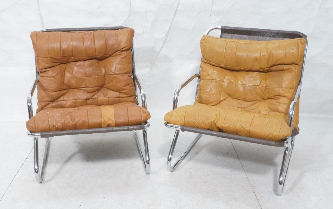 Pr Modernist Chrome Tube Lounge Chairs. Patchwork