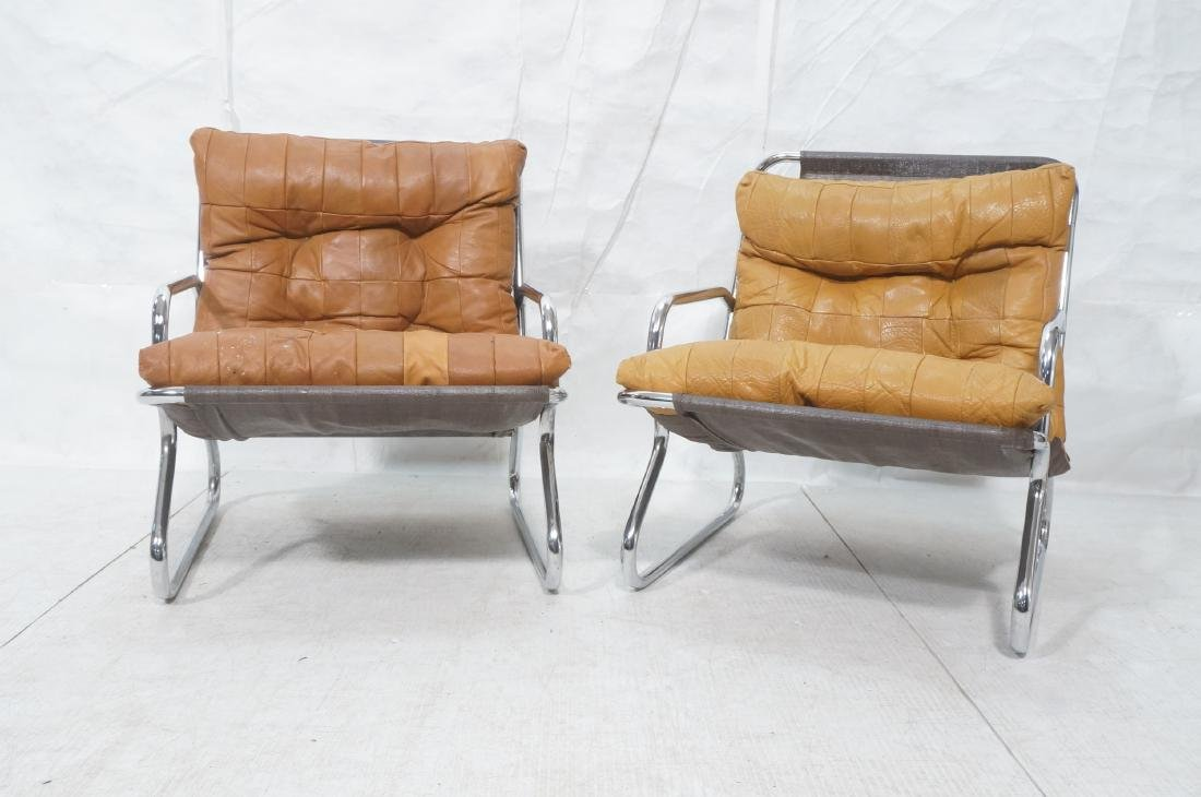 Pr Modernist Chrome Tube Lounge Chairs. Patchwork - 2