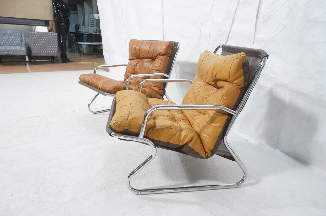 Pr Modernist Chrome Tube Lounge Chairs. Patchwork - 3