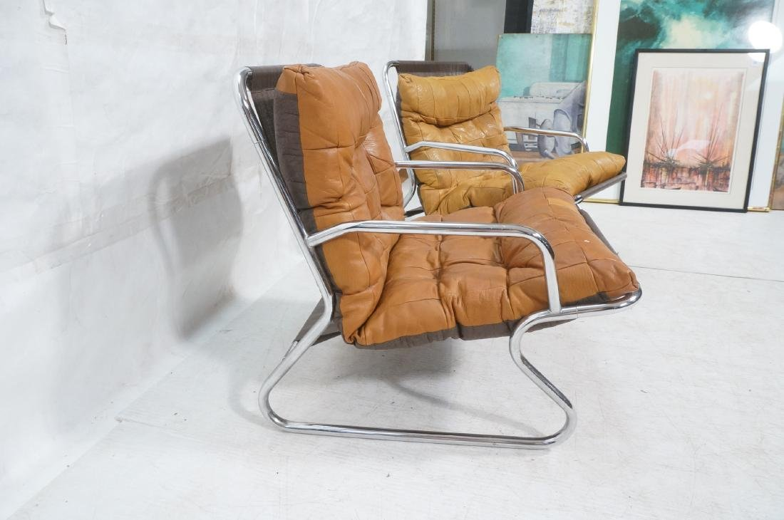 Pr Modernist Chrome Tube Lounge Chairs. Patchwork - 4