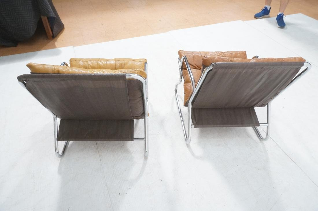 Pr Modernist Chrome Tube Lounge Chairs. Patchwork - 6