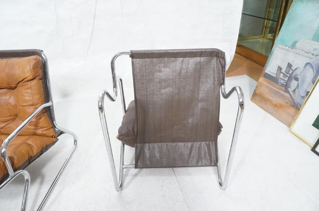Pr Modernist Chrome Tube Lounge Chairs. Patchwork - 7