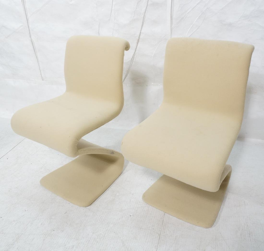 Pr Z Form Fabric Covered Modernist Lounge Chairs.