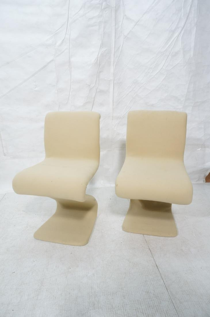 Pr Z Form Fabric Covered Modernist Lounge Chairs. - 2