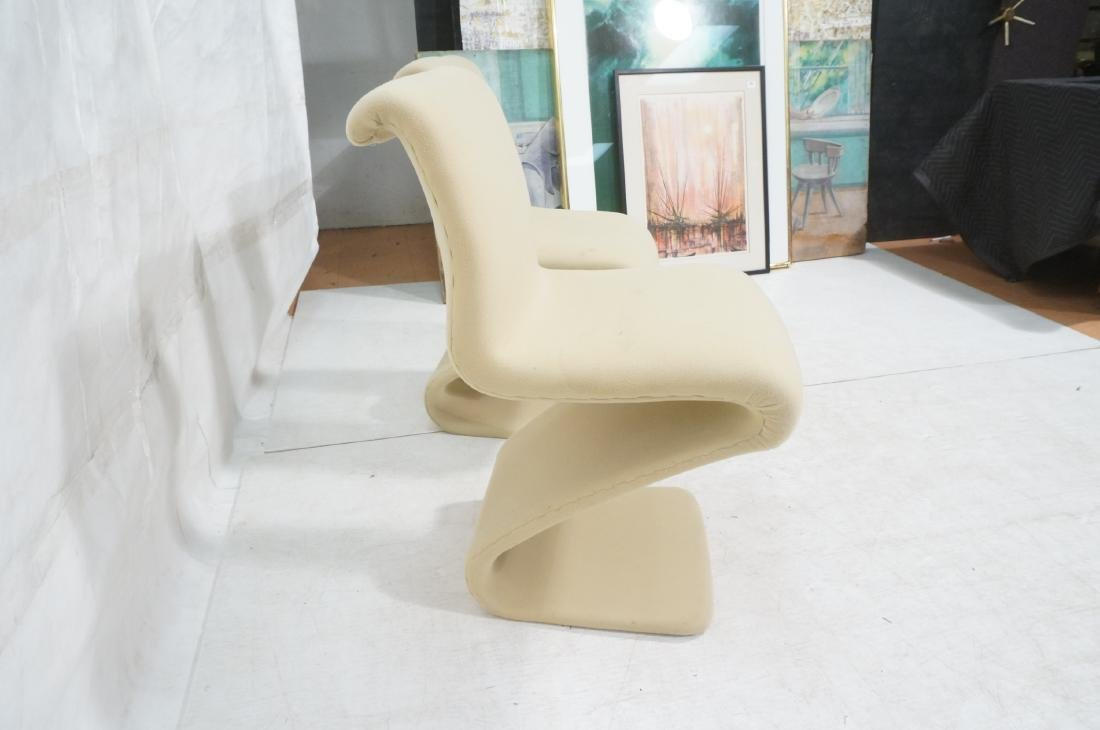 Pr Z Form Fabric Covered Modernist Lounge Chairs. - 5