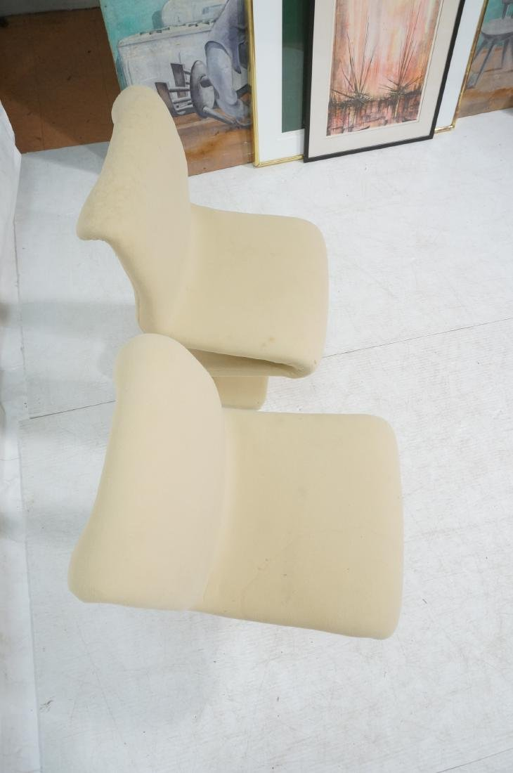 Pr Z Form Fabric Covered Modernist Lounge Chairs. - 6