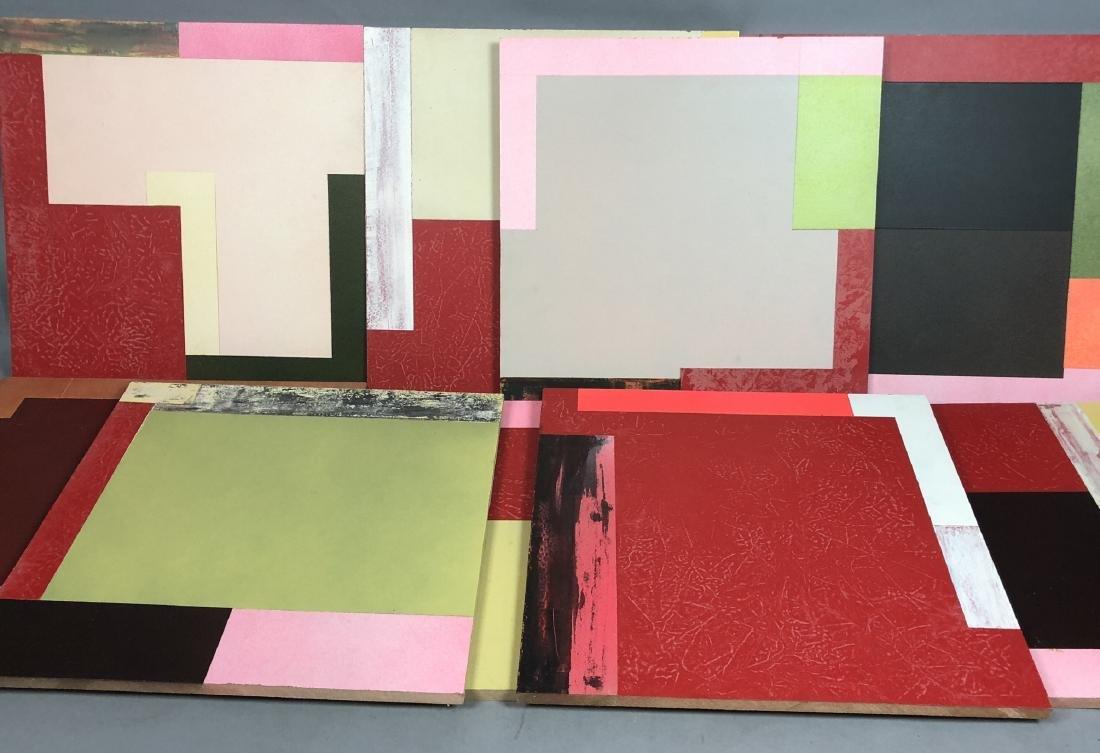 9pc MICHAEL WISE Modernist Art. 9 wood panels wit
