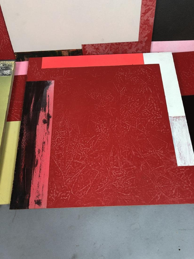 9pc MICHAEL WISE Modernist Art. 9 wood panels wit - 3