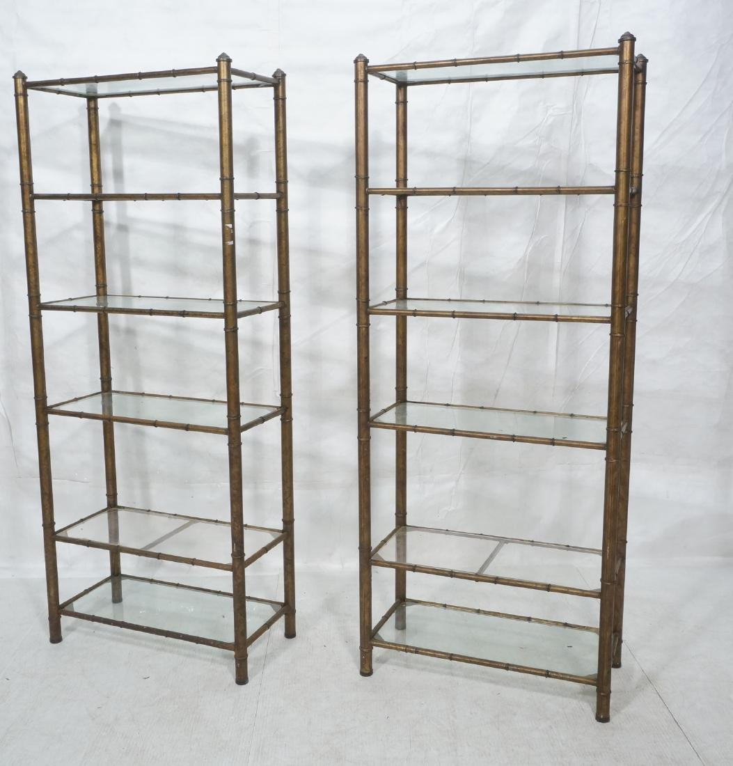 Pr Faux Bamboo Metal Etagere Display Units. Antiq