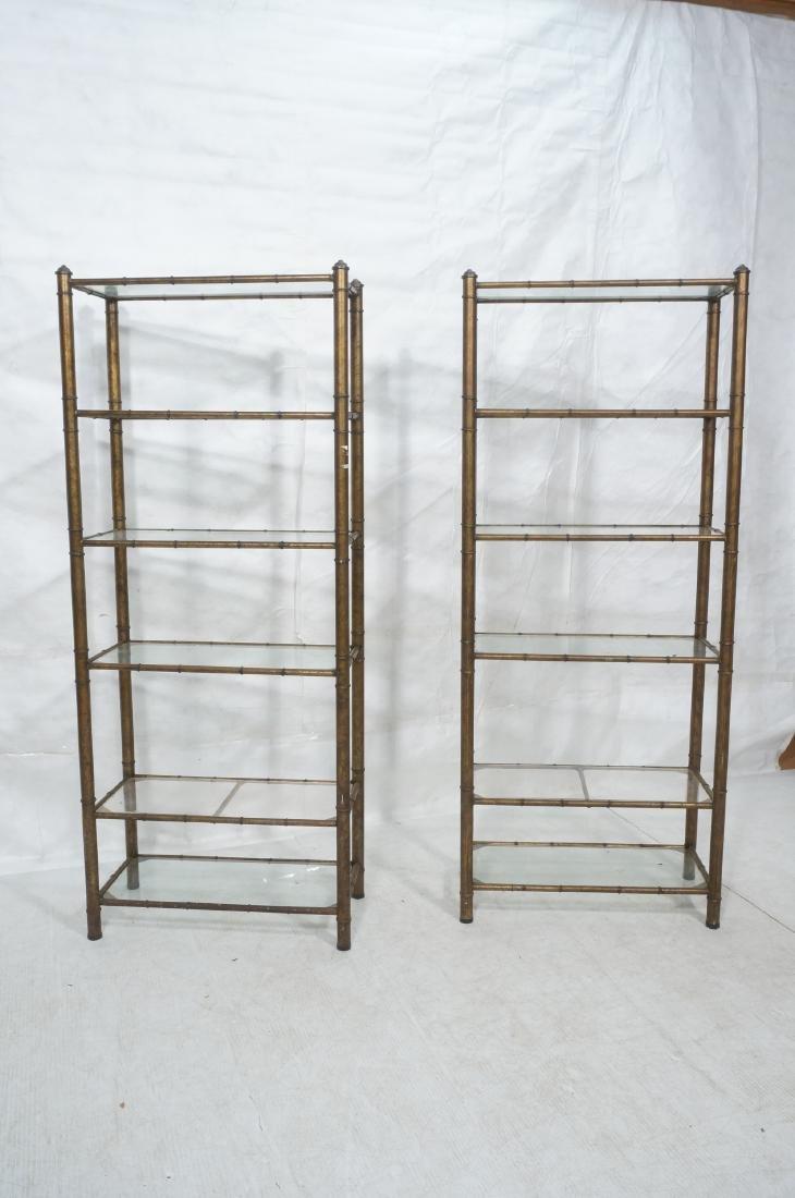 Pr Faux Bamboo Metal Etagere Display Units. Antiq - 2