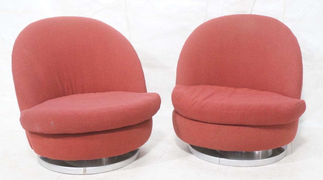 Pr Milo Baughman Lounge Chairs. Swivel Modernist