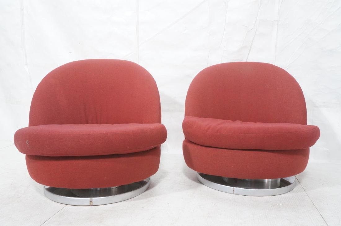 Pr Milo Baughman Lounge Chairs. Swivel Modernist - 2