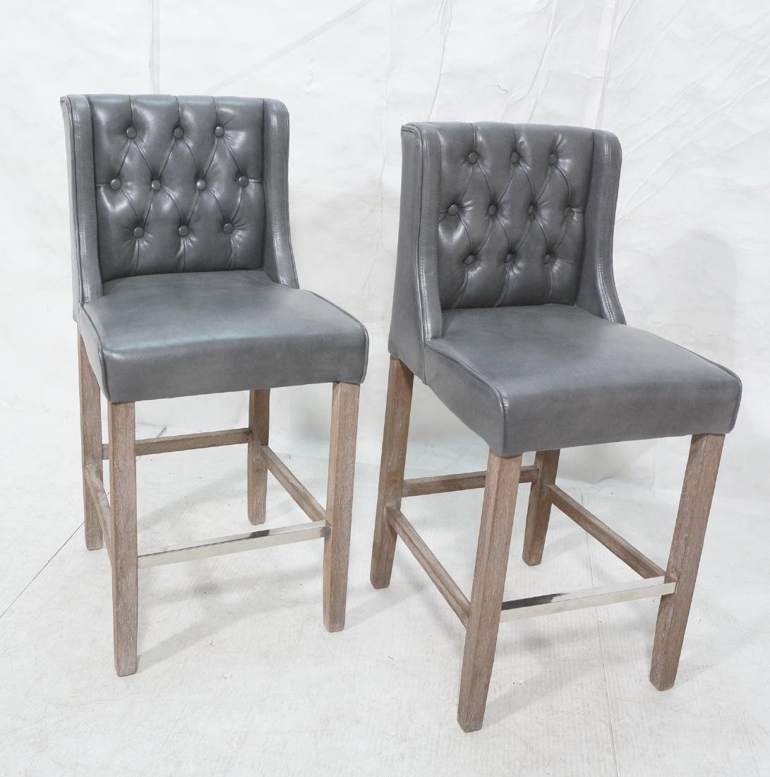 Pr RK HOME Contemporary Bar Stools. Tufted gray v