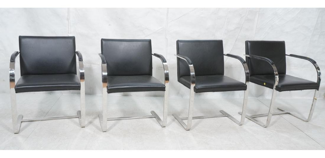 4 BRNO Black Vinyl Chrome Arm Chairs. Modernist c