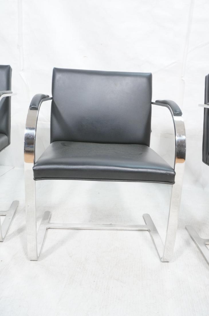 4 BRNO Black Vinyl Chrome Arm Chairs. Modernist c - 2