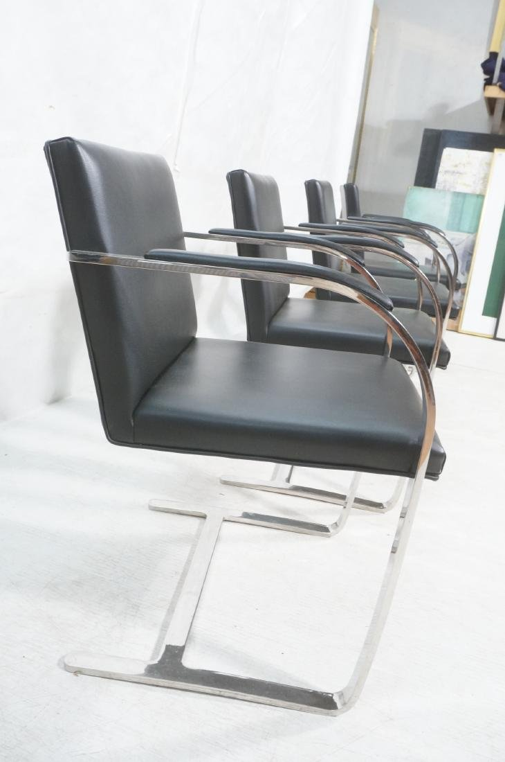 4 BRNO Black Vinyl Chrome Arm Chairs. Modernist c - 3