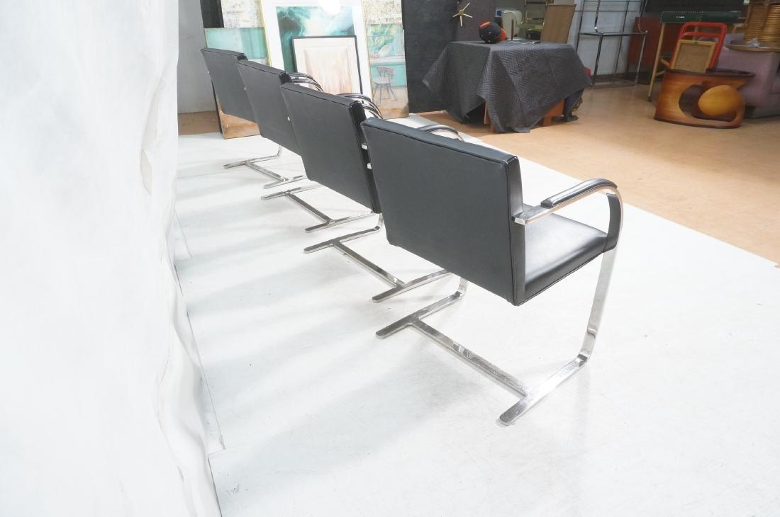 4 BRNO Black Vinyl Chrome Arm Chairs. Modernist c - 4