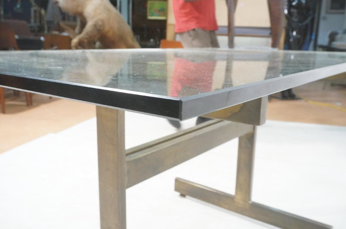 Modernist Glass top Dining Table. Bronzed satin f - 10