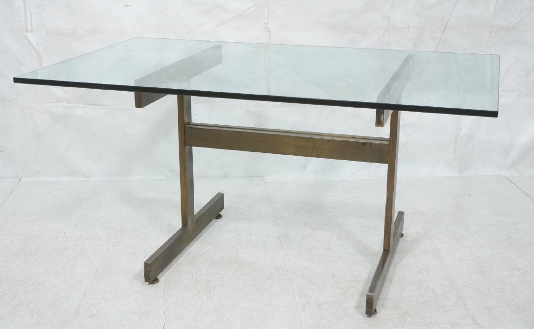Modernist Glass top Dining Table. Bronzed satin f