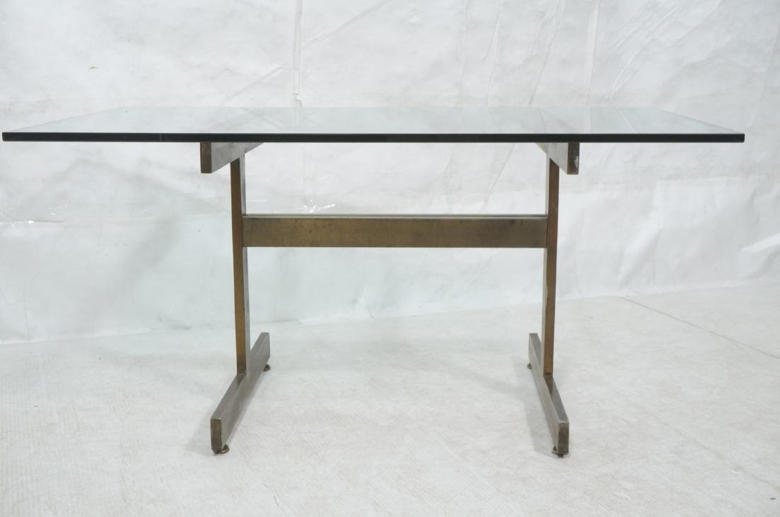 Modernist Glass top Dining Table. Bronzed satin f - 2