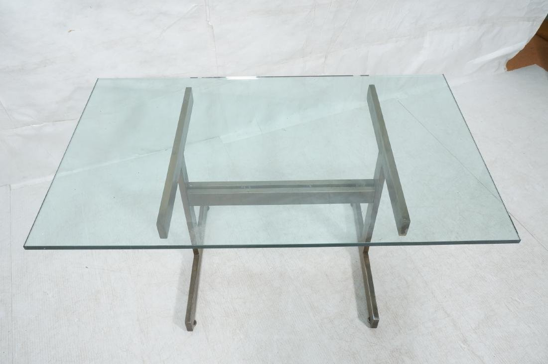Modernist Glass top Dining Table. Bronzed satin f - 3