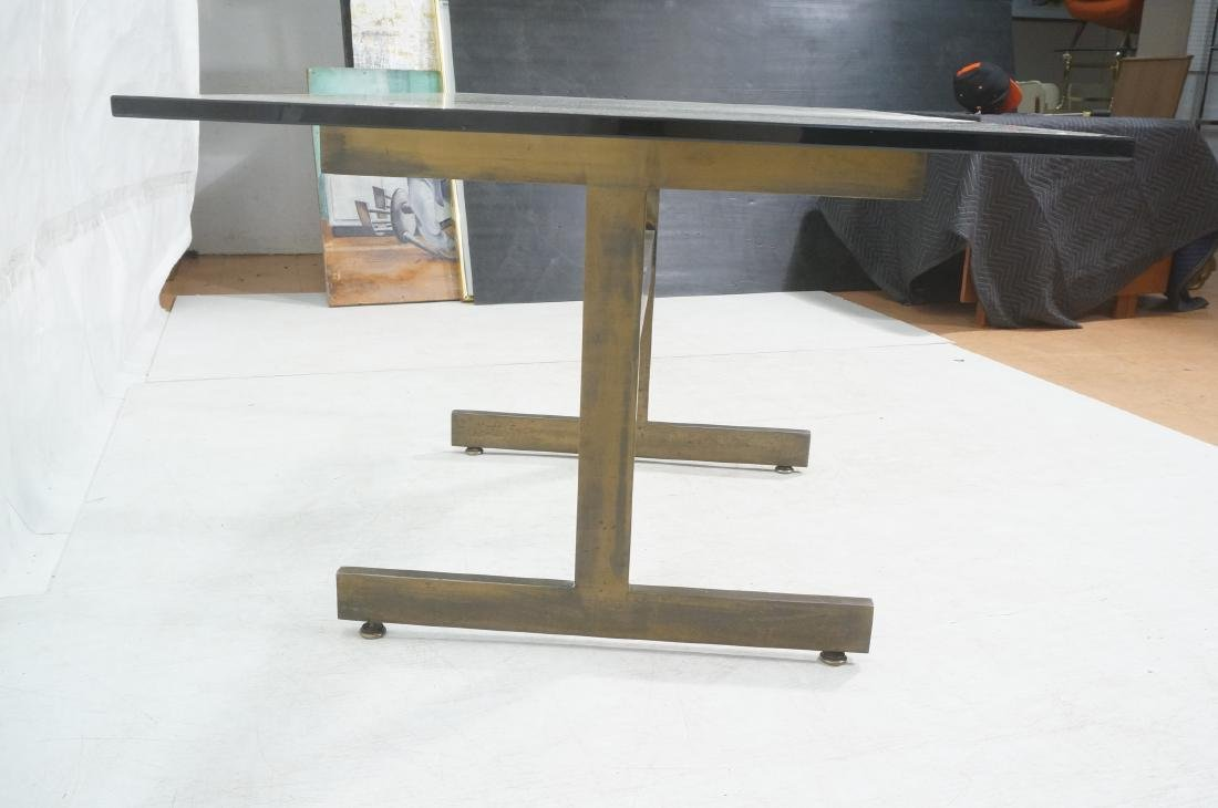 Modernist Glass top Dining Table. Bronzed satin f - 4