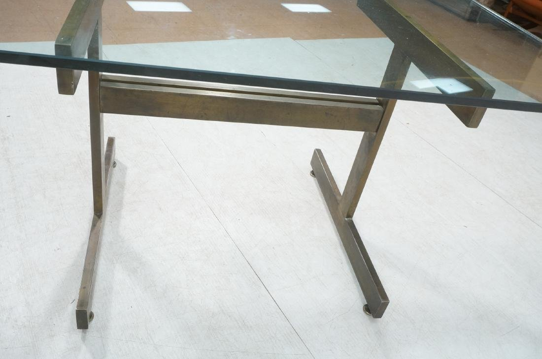 Modernist Glass top Dining Table. Bronzed satin f - 5