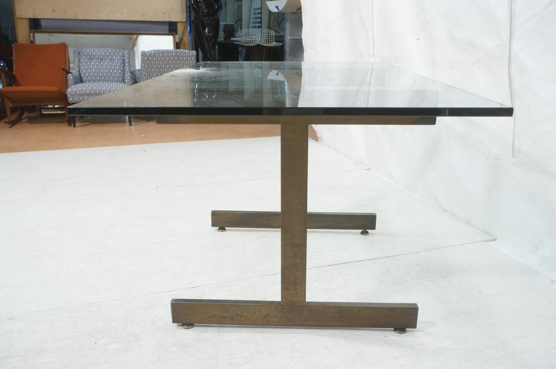 Modernist Glass top Dining Table. Bronzed satin f - 6