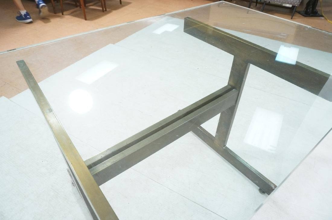 Modernist Glass top Dining Table. Bronzed satin f - 9
